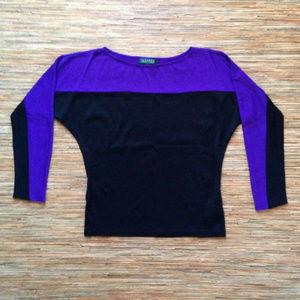 Lauren Ralph Lauren Top Womens M Black Purple Blk